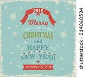 vintage  christmas greeting card | Shutterstock .eps vector #214060534