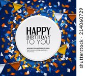 birthday card with confetti and ... | Shutterstock .eps vector #214060729