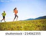 cross country trail running...   Shutterstock . vector #214062355