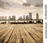 wooden platform before modern... | Shutterstock . vector #214064389