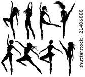 raster set of woman dancing...   Shutterstock . vector #21406888