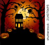 halloween card with castle ... | Shutterstock .eps vector #214070695