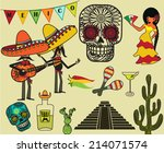 mexico clip art and symbols  ... | Shutterstock .eps vector #214071574