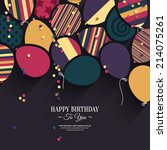 colorful birthday card with...   Shutterstock .eps vector #214075261