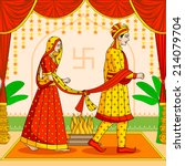 bride and groom in indian hindu ... | Shutterstock .eps vector #214079704