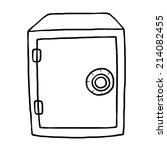 Safe Box Cartoon Vector And Illustration Black And