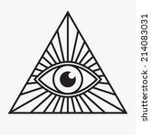 all seeing eye symbol  vector... | Shutterstock .eps vector #214083031