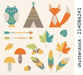 set of icons  autumn forest and ... | Shutterstock .eps vector #214086241