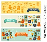 horizontal banners with musical ... | Shutterstock .eps vector #214088131