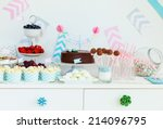 berries  popcorn and canape... | Shutterstock . vector #214096795