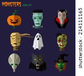 Halloween Monster Set Of Icons...