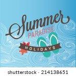 retro elements for summer... | Shutterstock .eps vector #214138651