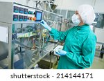 pharmaceutical factory woman... | Shutterstock . vector #214144171