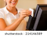 cashier at work. close up of... | Shutterstock . vector #214146589