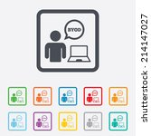 byod sign icon. bring your own... | Shutterstock .eps vector #214147027