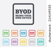byod sign icon. bring your own...   Shutterstock .eps vector #214149535