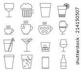 Set of 16 line icons with drinks.