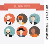 people of different religion in ... | Shutterstock .eps vector #214154185