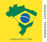 Illustration of Brazil Flag in Map for Independence Day