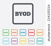 byod sign icon. bring your own... | Shutterstock .eps vector #214155214