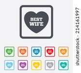 best wife sign icon. heart love ... | Shutterstock .eps vector #214161997