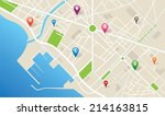 city map with navigation icons | Shutterstock .eps vector #214163815