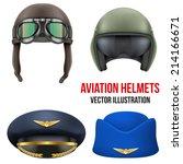 retro aviator pilot leather... | Shutterstock .eps vector #214166671