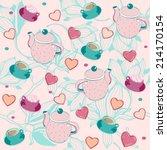 tea and cookies pattern. | Shutterstock .eps vector #214170154