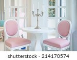 white table and pink chair with ... | Shutterstock . vector #214170574