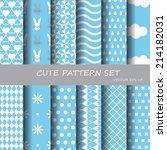 set of sweet blue different... | Shutterstock .eps vector #214182031