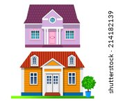 two vector cottages   Shutterstock .eps vector #214182139