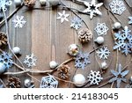 silver snow flakes with pine... | Shutterstock . vector #214183045