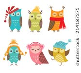 Stock vector set of funny owls for winter design 214187275