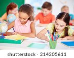 two schoolgirls drawing by the... | Shutterstock . vector #214205611