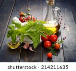 fresh basil  cherry tomatoes... | Shutterstock . vector #214211635