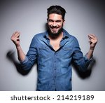 handsome man in blue shirt...   Shutterstock . vector #214219189