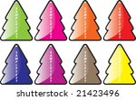 Multi-coloured labels in the form of a pine - stock vector