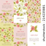 set of six floral business... | Shutterstock .eps vector #214235881