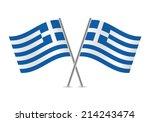 greek flags. vector...   Shutterstock .eps vector #214243474