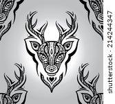 deer head. polynesian tribal... | Shutterstock .eps vector #214244347