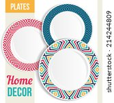 set of 3 matching decorative... | Shutterstock .eps vector #214244809