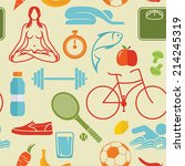 healthy lifestyle pattern | Shutterstock .eps vector #214245319