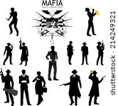 Set of male silhouettes retro 1930s style Mafia theme gangster musitian police