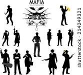 set of male silhouettes retro... | Shutterstock .eps vector #214249321