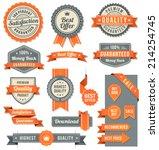 set of eleven orange and black... | Shutterstock .eps vector #214254745
