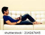 portrait of a man lying on the... | Shutterstock . vector #214267645