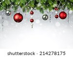 christmas balls hanging on... | Shutterstock . vector #214278175
