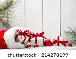 christmas gifts fir branch on... | Shutterstock . vector #214278199