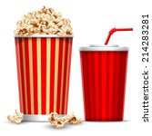 Carton Bowl Full Of Popcorn An...