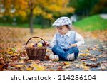 boy in a park with leaves and... | Shutterstock . vector #214286104